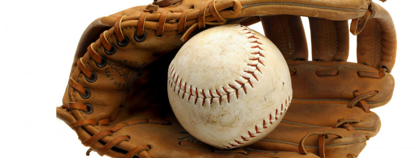 Old Baseball Mitt and Ball Isolated on White with Copy Space