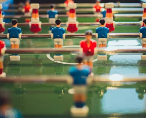 close-up photo of a foosball table