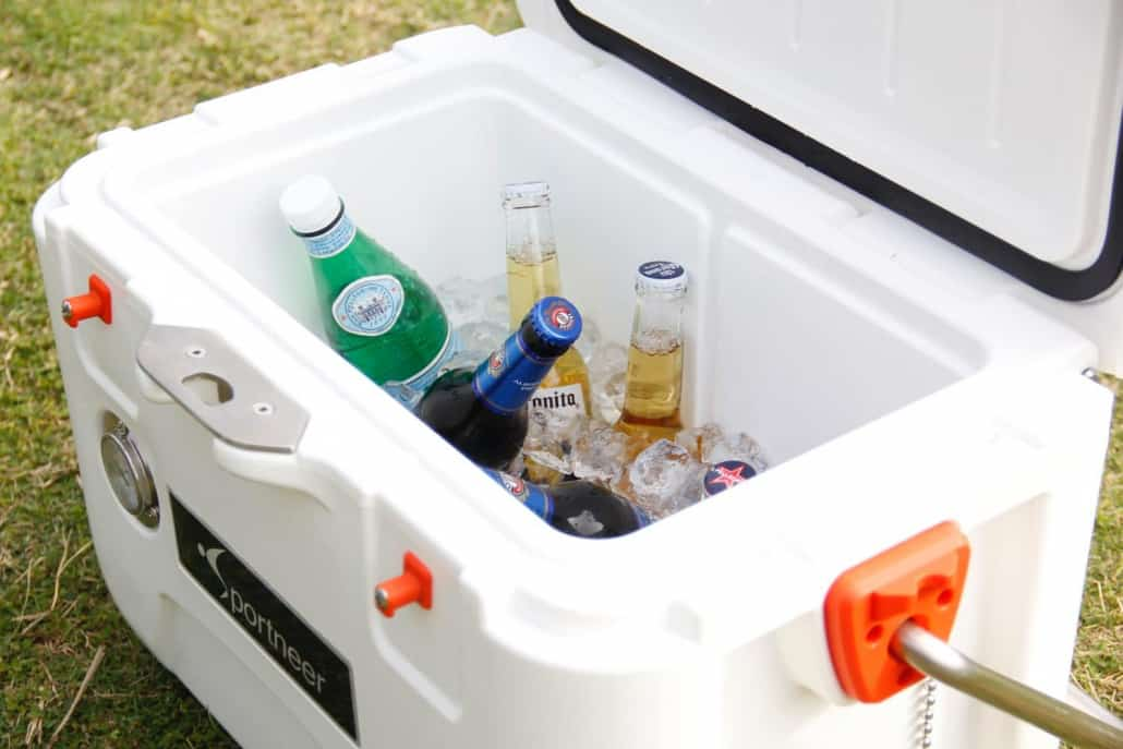 cooler with bottled drinks