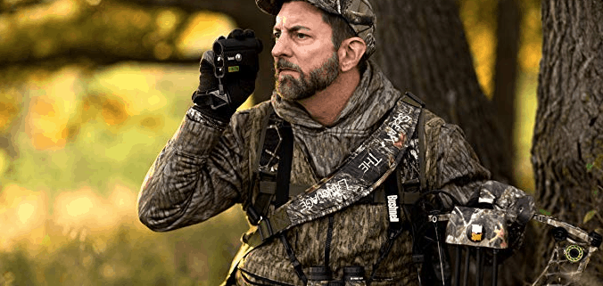 man using range finder