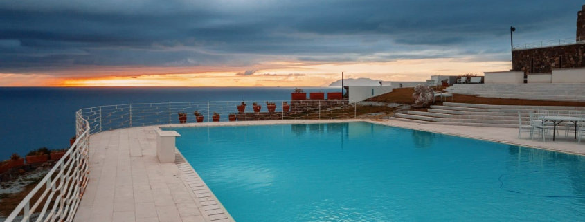 swimming pool during golden hour