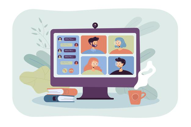 people socializing via video conference