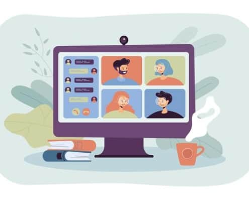 people meeting online via video conference